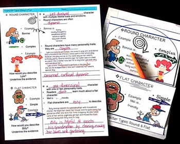 CHARACTER TYPES POWERPOINT W/ CORNELL & FOLDING NOTES FOR MIDDLE SCHOOL ENGLISH