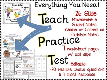 CHARACTER TYPES POWERPOINT AND NOTES: TEACH, PRACTICE, TEST