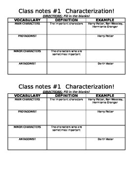 Character Vocabulary Guided Notes