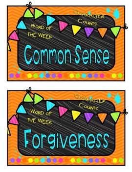 Character Word of the Week Cards