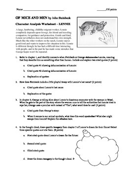 Character Worksheet Lennie Of Mice and Men