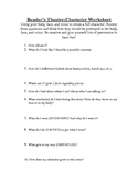 Theatre Character Breakdown Worksheet