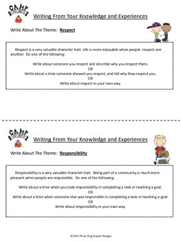 Character Writing Prompts - Camp Classy Character Common Core