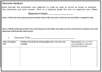 Character analysis guiding worksheet - step by step essay writing - ESL