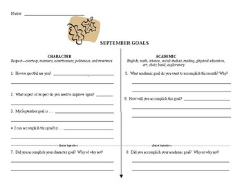 Character and Academic Goals for September