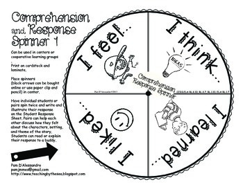 Comprehension Spinners - Great for Centers for K-1st Common Core Aligned