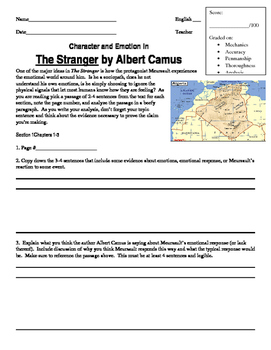 Character and Emotion in The Stranger by Albert Camus: Close Reading Exercise