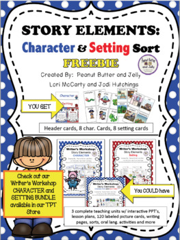Story Elements: Character and Setting Picture Sort - FREEBIE