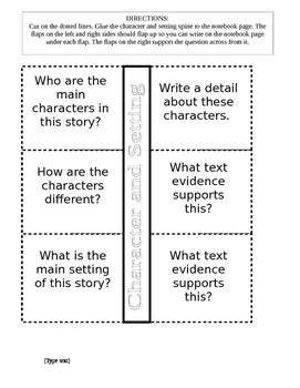 Character and Setting - Reading Interactive Notebook