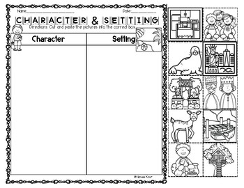 Character Setting Sort and Graphic Organizers