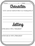 Character and Setting Worksheet