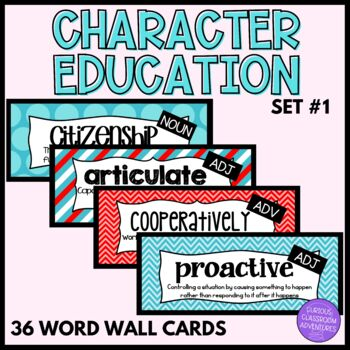 Character and Values Word Wall Cards-Set 1