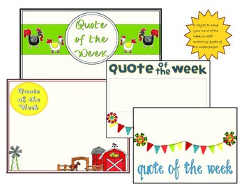 Character building Word and Quote of the Week, Farm Theme