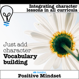 Character, community, positive mind sets vocab word walls goals affirmations