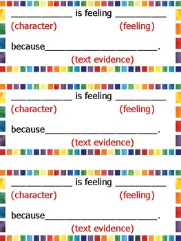 Character feelings sentence frames