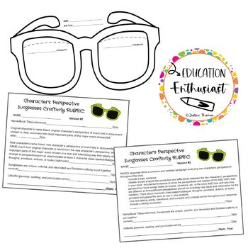 Character's Perspective Sunglasses Craftivity-PDF-GoogleSlideBUNDLE