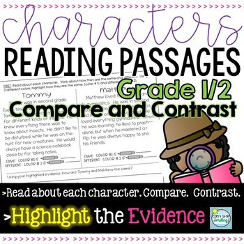 Characters' Reading Passages 1st/2nd Grade ~ Compare and Contrast 2 Characters