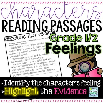 Character's Reading Passages 1st/2nd Grade ~ Focus on  a Character's Feelings