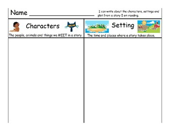 Character, setting and plot worksheet