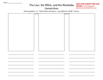 Character traits - The Lion, the Witch, & the Wardrobe or any story