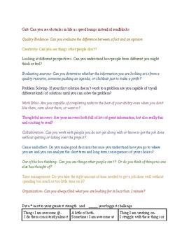 Character traits activity