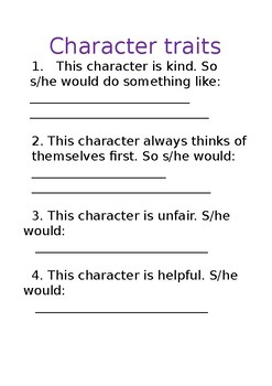 Character traits and actions - Students fill in own answers