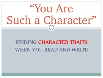 Character traits for reading and writing