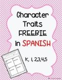 Character traits graphic organizer Spanish FREEBIE