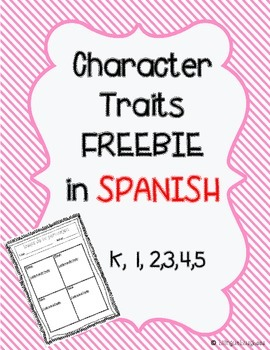 Character traits graphic organizer Spanish FREEBIE
