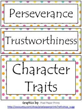 Character/Behavior Card and Character Trait Signs