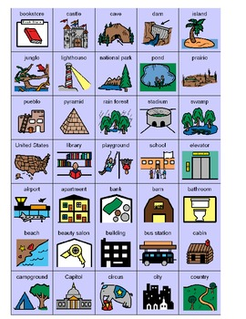 Character/Setting graphic organizer and pictures for students with autism