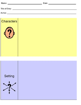 Character/Setting graphic organizer and pictures for stude