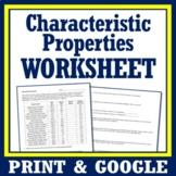Characteristic Properties Worksheet Pure Substances versus