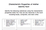 Characteristic Properties of Matter- Identity Hunt