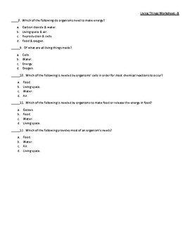 Characteristics & Survival Needs of Living Things Worksheet (4 versions)