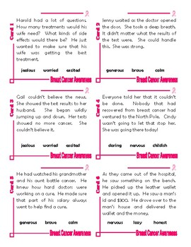 Characteristics Worksheet and Task Cards [Breast Cancer Awareness]