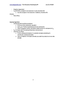 Characteristics and Nature of Solutions - Quick Review Chemistry and Handout