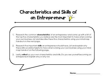 Characteristics And Skills Of An Entrepreneur Activity