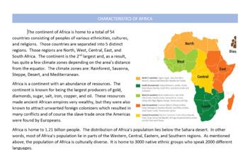 Characteristics of Africa