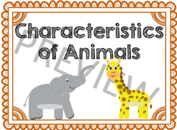 Characteristics of Animals - Enrichment & Extension for Gi