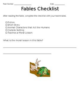 Characteristics of Fables Checklist