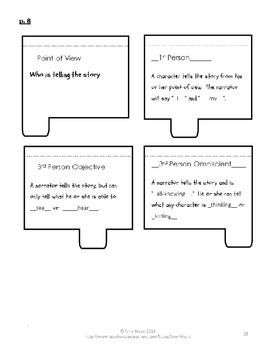 Characteristics of Fiction & Point of View Interactive Notebook Sample