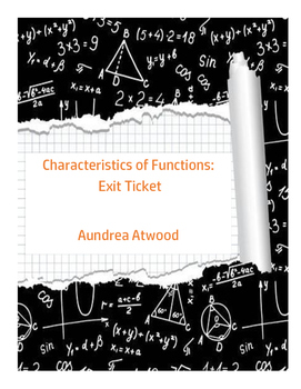 Characteristics of Functions: Exit Ticket