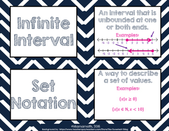 Characteristics of Functions Vocabulary Cards/Posters