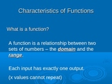 Characteristics of Functions