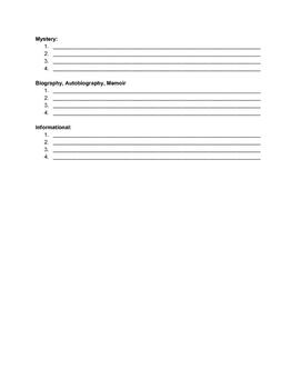 Characteristics of Genre Worksheet