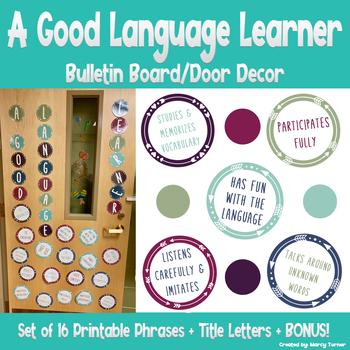 Characteristics of Good Language Learners Bulletin Board/Door Decor