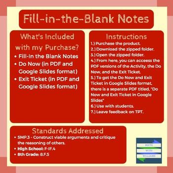 Characteristics of Graphs Fill-in-the-Blank Notes (with Do Now and Exit Ticket)
