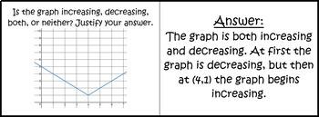 Characteristics of Graphs Quiz Cards Activity