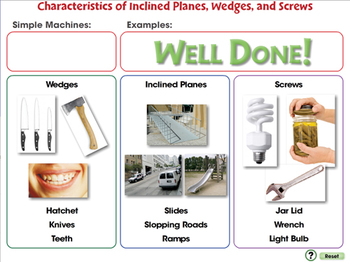 Characteristics of Inclined Planes, Wedges, and Screws NOTEBOOK Gr. 5-8